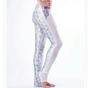 Emily Hsu Designs Pants - WHITE PYTHON Mesh High Performance Leggings