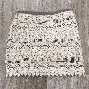 Lush Cream Overlay Crochet Mini Skirt EUC
