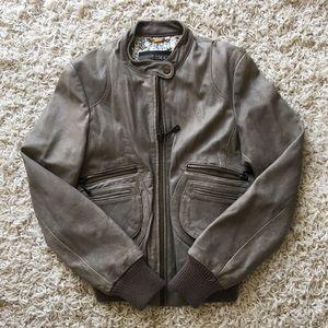 Aritzia Doma Gray Moto Leather Jacket