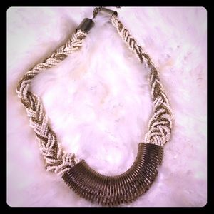 Gold and white bead braided statement necklace!