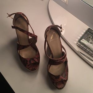 B Brian Atwood snakeskin wedges