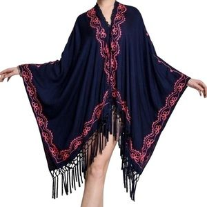 Southern Girl Fashion Jackets & Blazers - EMBROIDERED CAPE Long Kimono Cardigan Jacket Top