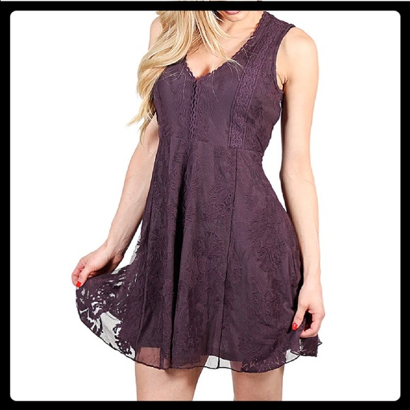 Nwot Eggplant Lace Dress Boutique