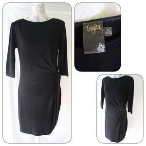Taylor Black Dress 12 Side Tie Long Sleeve