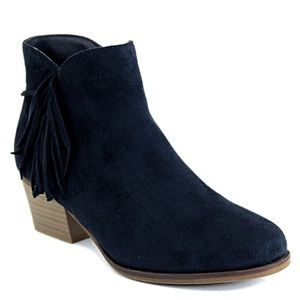 Bella Marie Shoes - -HOLIDAY SALE- Dark Navy Blue Fringe Booties