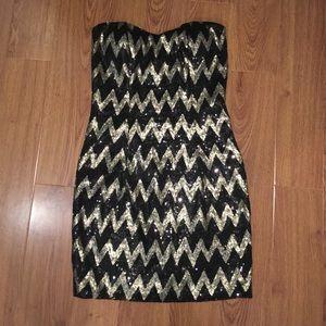 Black and gold chevron sequin body con mini dress