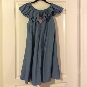 Chicwish off the shoulder chambray dress