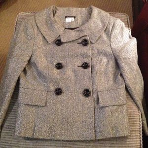 Conspicuous shiny grey / silver herringbone jacket