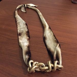 Jewelry - Hand dyed ombré velvet and brass chain necklace