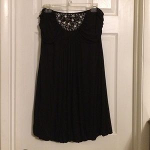 Black Strapless Beaded Bubble Dress