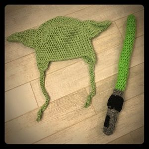Other - Yoda Hat & Light Saber Handmade Knitted