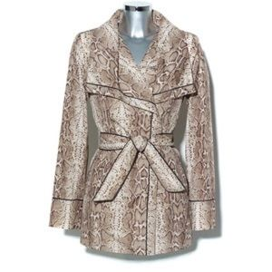 Vince Camuto snake print trench coat large rain