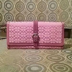 Coach Handbags - Coach Pink Signature Canvas Wallet - EUC
