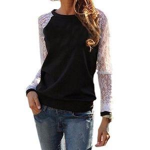 Sweaters - Black White Lace Sleeve Crewneck Shirt Top blouse