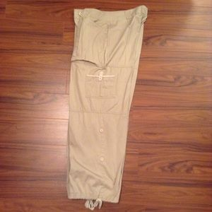 Pants - Khaki Cargo Pants with Roll-up Legs