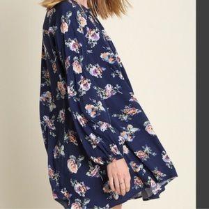 ❗️Navy Floral Boho Swing Tunic Slip Dress
