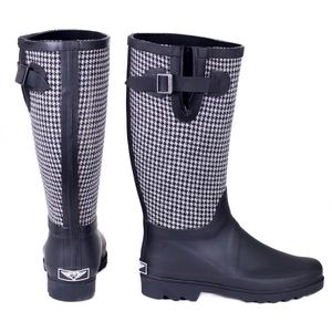 forever young Shoes - Women's Fabric Coated B&W Rubber Rainboots RB1903