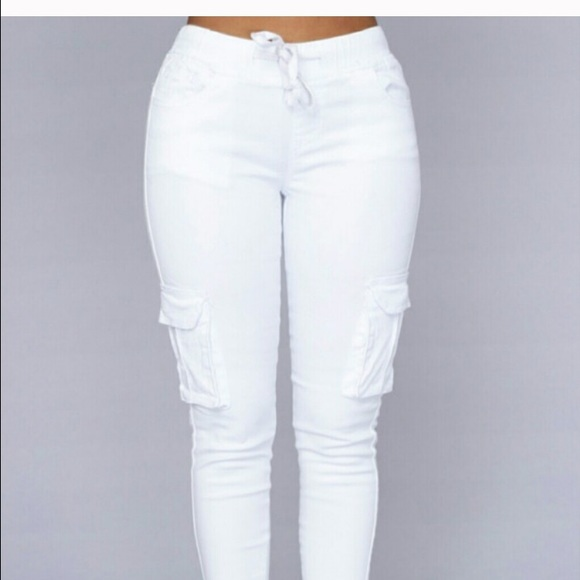 b3d42348 Fashion Nova Pants | White Jogger Cargo | Poshmark
