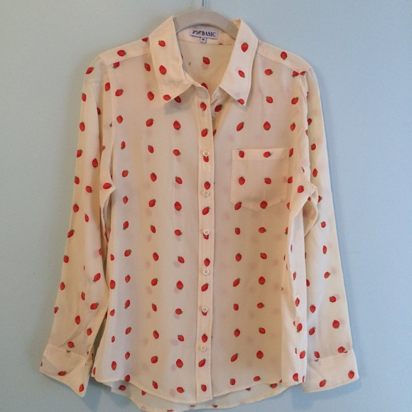 "Popbasic Tops - 🍓""strawberries & cream"" 100% silk blouse"