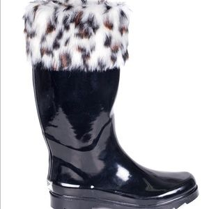 forever young Shoes - Women Knee High Faux Fur Cuff Rainboots RB1804
