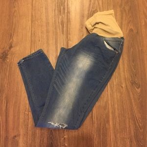 Distressed, skinny maternity jeans