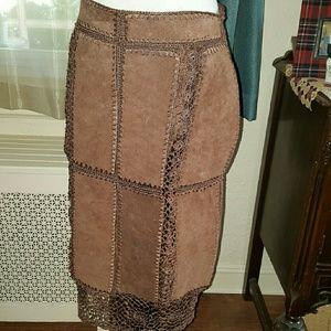 Vtg. Suede 70's skirt L
