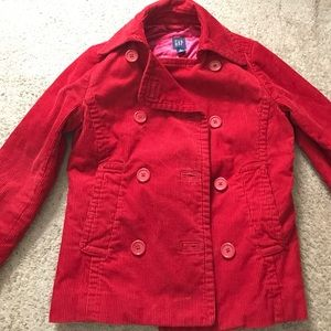 Perfect for fall! Bright red Gap Corduroy peacoat