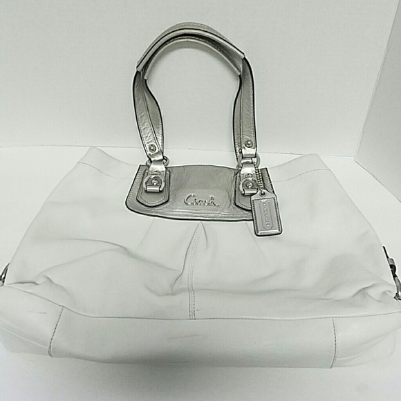06cbc210b Coach Bags | F15513 Ashley Leather White And Silver Bag | Poshmark