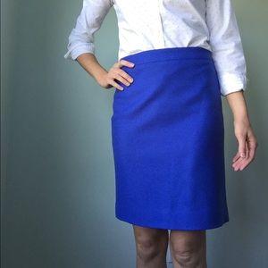 J. Crew wool blue pencil skirt 00