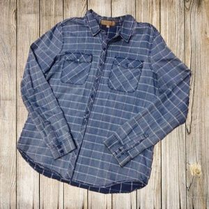 Tops - NWT Denim Plaid Shirt For Women