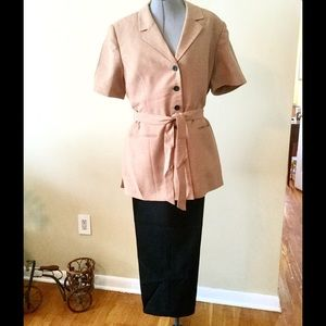 Le Suit Jackets & Blazers - Le Suit Two Piece Buttoned Pants Suit w/ Wrap Tie