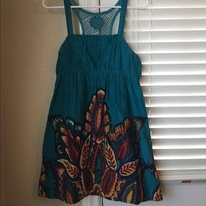 EUC, worn once, Teal patterned dress, Large