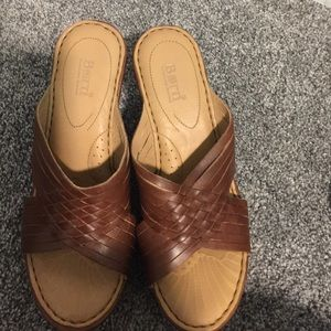 Brown leather born wedges