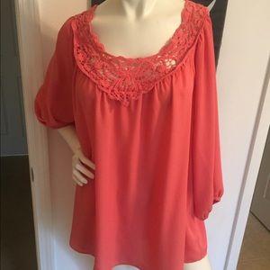 Eyeshadow Tops - Coral blouse