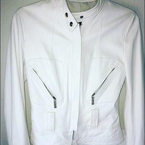 blu Jackets & Blazers - White leather lambskin jacket