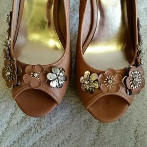 Wild Pair Shoes - New Wild Pair Tan Chic Peep Toe Platforms Stiletto