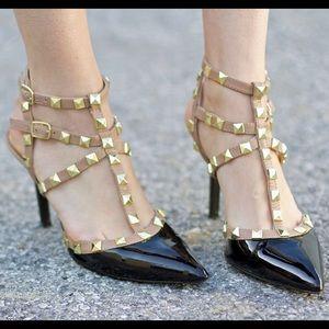 BCBGeneration Shoes - BCBGeneration Darron Black/Nude Studded Heels 7.5