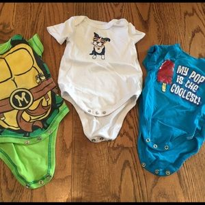 Set of 3 graphic onesies