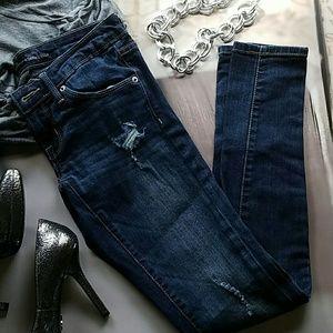 17 Sundays Denim - Low Rise Skinny Distressed Jeans