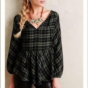 Plaid Peasant Top by Holding Horses