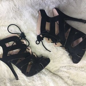 Missguided Shoes - Black lace up heels