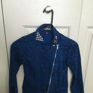 Blue and black cheetah print Moto jacket