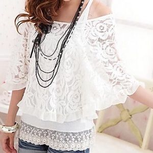 Goensshopping Tops - Bo-ho White Lacy Off Shoulder Ruffle Top ✨HP✨