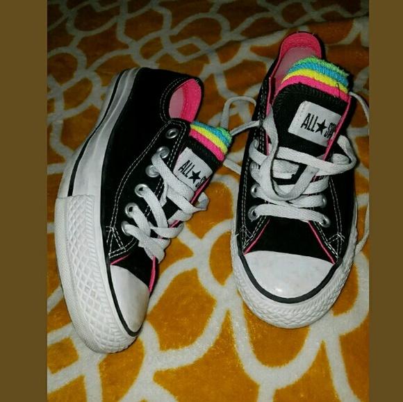 97f6e6176adb Converse Shoes - Chuck Taylor All Stars Black W  Multi Color Tongue