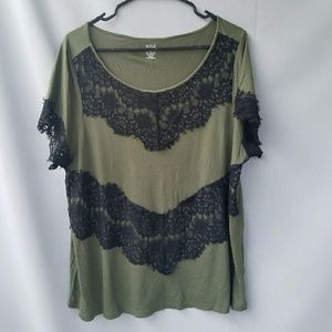 a.n.a Tops - Ana Olive Green and Black Lace Top