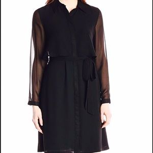 Woman's Black Pointed Collar Popover Shirt Dress