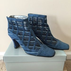 Denim blue caged heels