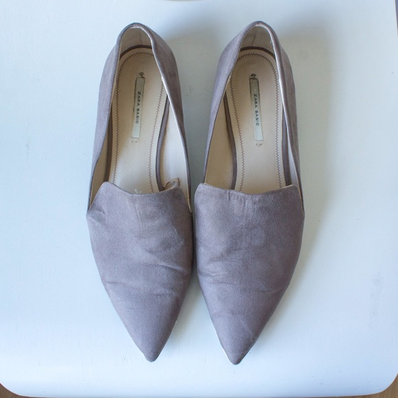 Zara Shoes | Zara Grey Pointed Flats