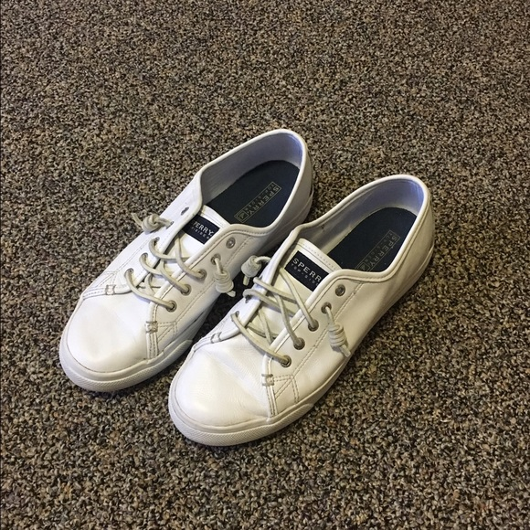 Sale White Leather Sperry Top Sider