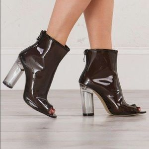 Shoes - * CLEARANCE * Plexi Clear Heel Black Jelly Booties